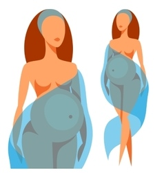 Stylized silhouette of pregnant woman vector image