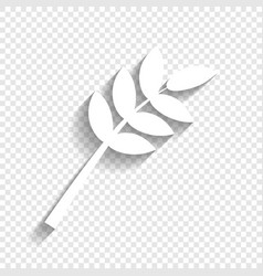 Tree branch sign white icon with soft vector