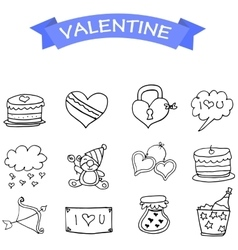 Valentine icons hand draw collection vector
