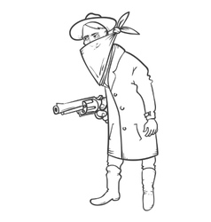 Wild west robber with gun hand drawn vector