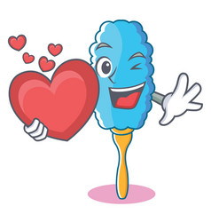 With heart feather duster character cartoon vector
