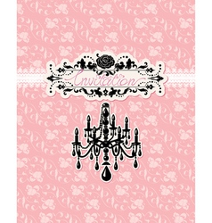 Wedding invitation card with luxury chandelier vector