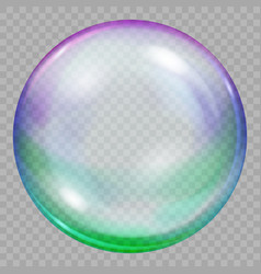 One big multicolored transparent soap bubble vector