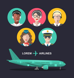 Set of airplane and cabin crew and airport vector