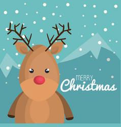 Merry christmas reindeer character vector