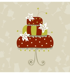 Greeting card with wedding cake vector