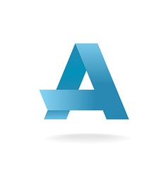 Letter a logo template vlue straight origami vector