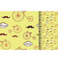 Retro bicycle and moustache seamless pattern vector
