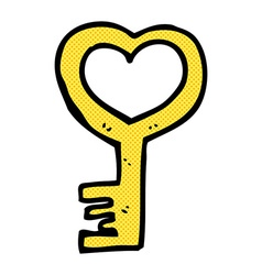 Comic cartoon heart shaped key vector