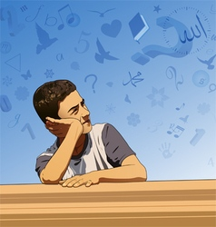 Thinking boy and imagination vector image