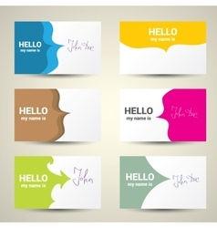 Hello my name is name tag set vector