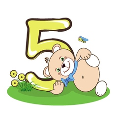 The number five and cheerful bear vector