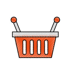 basket shopping supermarket handle object vector image vector image