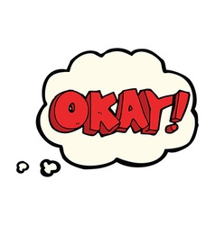 Cartoon okay sign with thought bubble vector
