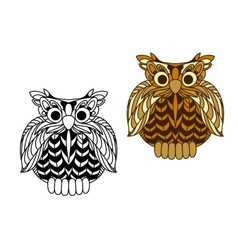 Cartoon old wise eagle owl character vector