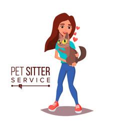Cat pet sitter service professional pet vector