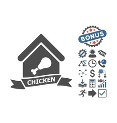 Chicken cafe flat icon with bonus vector