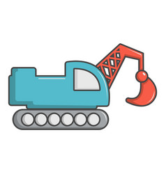 Crawler excavator truck icon cartoon style vector