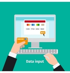 Credit plastic card usage data input vector image