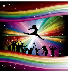 dancers on rainbow vector image vector image
