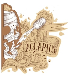 Engraving aquarius vector image