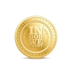 Golden finance isolated dollar coin with text vector