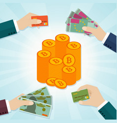 hands giving card or money for bitcoins vector image vector image