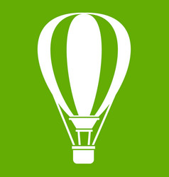 Hot air ballon icon green vector
