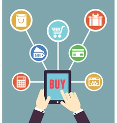 Internet shopping mobile order and payment vector