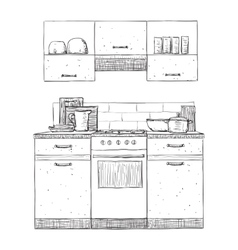 Kitchen cupboard hand drawn furniture vector