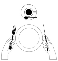 Knife and fork in hands isolated on white vector