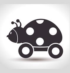 ladybug with wheels baby toy vector image vector image