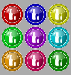Nail polish bottle icon sign symbol on nine round vector