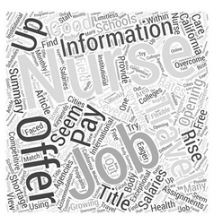 Nursing jobs information word cloud concept vector
