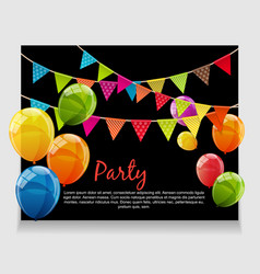 Party background baner with flags and balloons vector