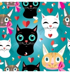 Pattern cats vector image