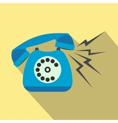 Ringing blue stationary phone flat vector image
