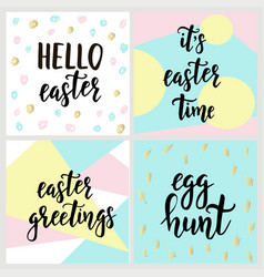 Set with happy easter gift cards with calligraphy vector