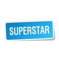 Superstar blue square sticker isolated on white vector