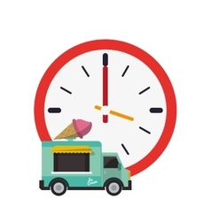 Wall clock and ice cream truck icon vector