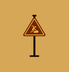 warning falling on the stairs road sign vector image
