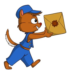 Cartoon delivery chipmunk with package vector