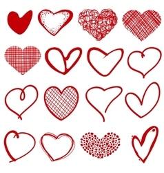 Vintage outline hand drawn sketchy hearts vector