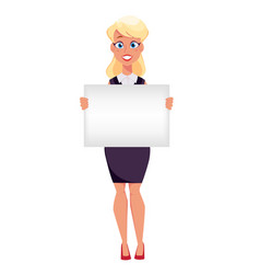Young cartoon businesswoman holding blank sign vector