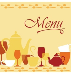 Background with dishware vector