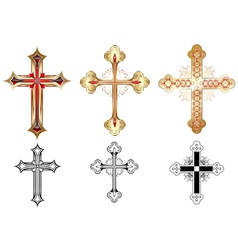 Three gold cross vector