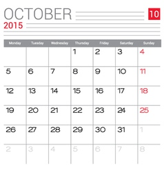 2015 October calendar page vector image