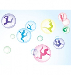Bubbles with girls vector