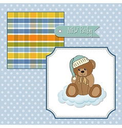 Baby shower card with sleepy teddy bear vector