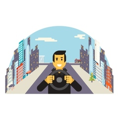 Driver with car wheel ride driving city flat vector